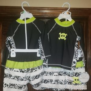 Baby boys 2pc SKULL swim suit set trunks shirt